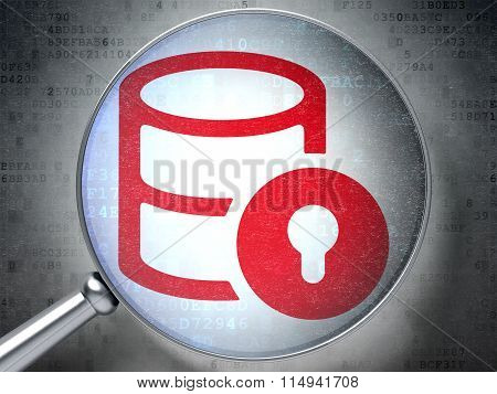 Programming concept: Database With Lock with optical glass on digital background