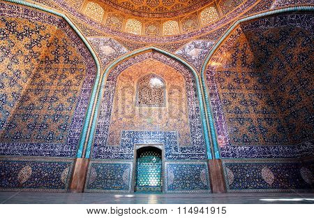Dome And Colorful Patterned Walls With Tiles Inside The Mosque In Iran