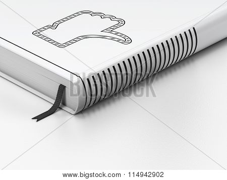 Social media concept: closed book, Thumb Down on white background