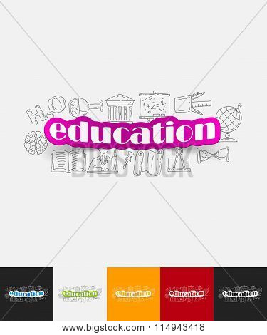education paper sticker with hand drawn elements