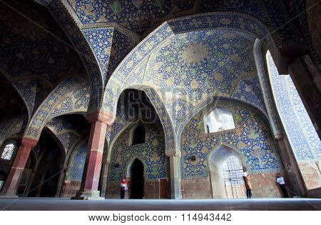 Arches Of Old Persian Imam Mosque In Isfahan.