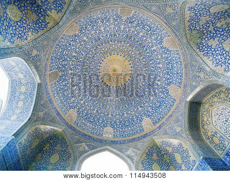 Dome Of The Ancient Iranian Mosque With Blue Color Mosaic And Tiles, Iran.