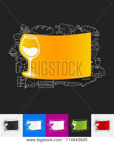 wineglass paper sticker with hand drawn elements