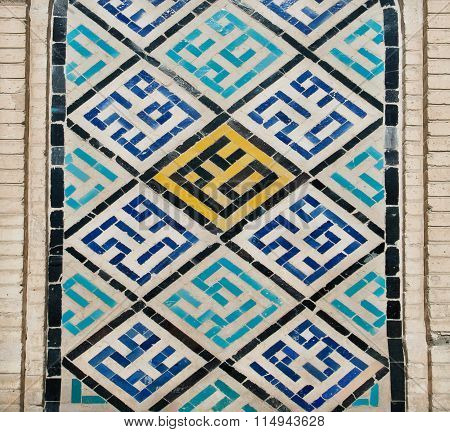 Calligraphic Persian Words On The Wall Ceramic Tiles In Isfahan