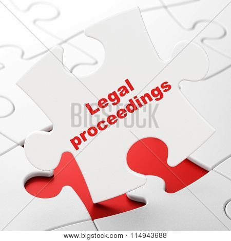 Law concept: Legal Proceedings on puzzle background
