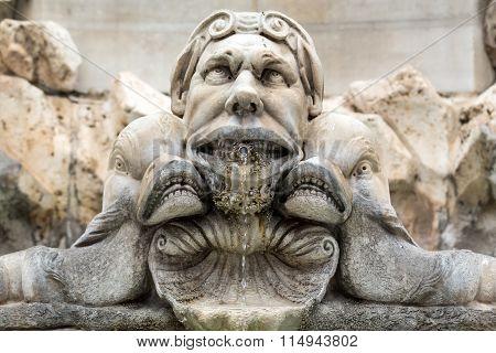 Close up of Fountain of the Pantheon (Fontana del Pantheon) at Piazza della Rotonda. Rome Italy