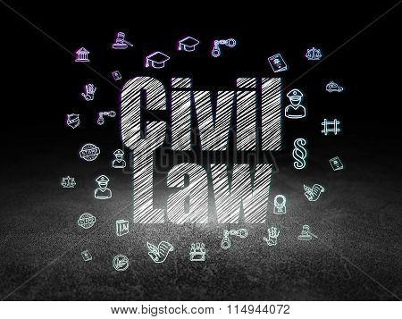 Law concept: Civil Law in grunge dark room