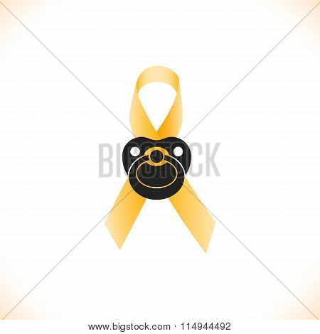 Ribbon icon with baby nipple as symbol of childhood cancer awareness, vector illustration