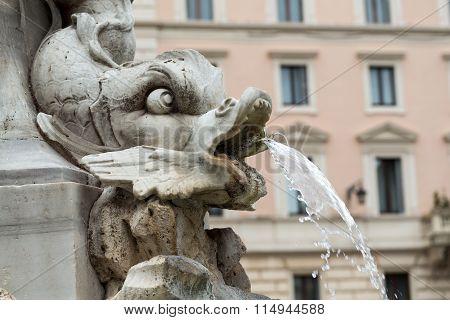 Close up of Fountain of the Pantheon (Fontana del Pantheon) at Piazza della Rotonda .. Rome Italy