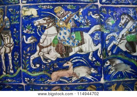 Hunters On Horseback On The Vintage Ceramic Tiles Of The 19Th Century
