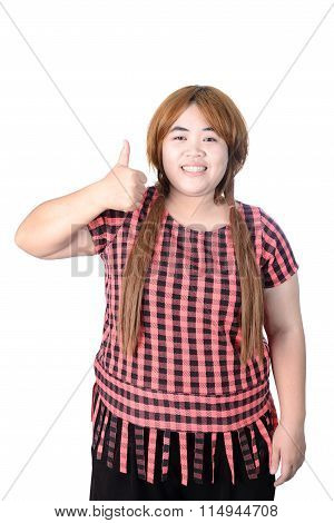 Asian Plump Woman Making Thumbs Up With A Smiling, Isolated On White Background