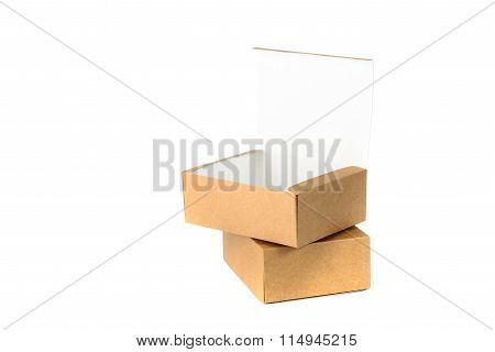 Open And Closed Two Cardboard Box Or Brown Paper Box Isolated With Soft Shadow On White Background