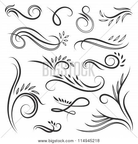 Vignettes with swirls and leaves