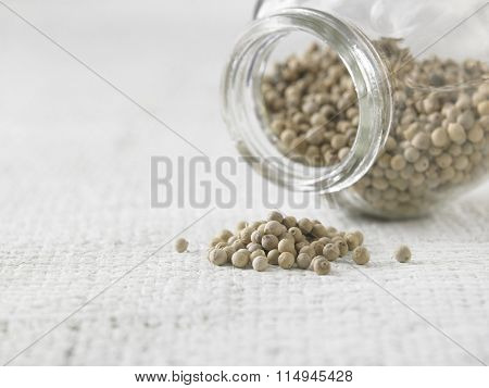 peppercorn on the white texture sackcloth
