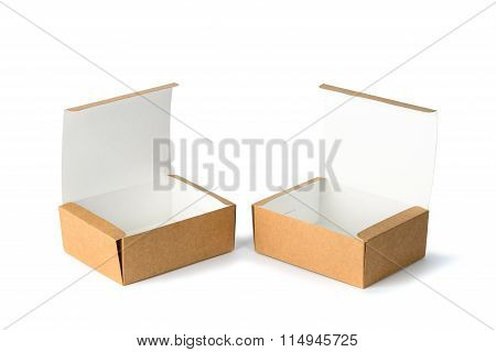 Open Two Cardboard Box Or Brown Paper Box Isolated With Soft Shadow On White Background