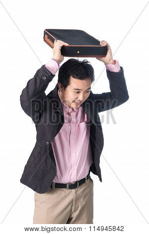 Angry Asian Businessman Throwing Briefcase, Isolated On White Background