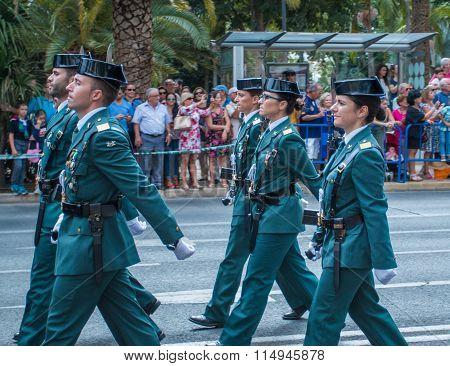 Guardia Civil Parade In Malaga, Spain