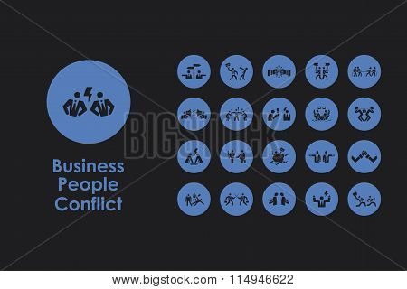 Set of business people conflict simple icons