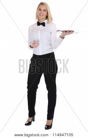 Waitress Waiter Female Blond Young Woman Serving With Tray Restaurant Job Full Body Isolated