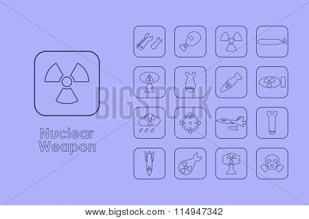 Set of nuclear weapon simple icons