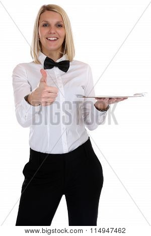 Waitress Waiter Female Blond Young Woman Serving With Tray Restaurant Job Thumbs Up Isolated