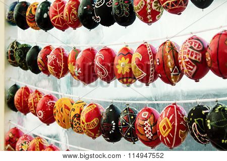 Rows Of Painted Easter Eggs