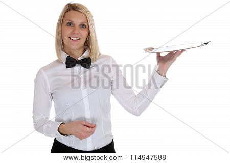 Waitress Waiter Female Blond Woman Serving With Tray Restaurant Job Isolated