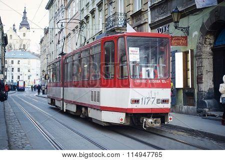 Old Tram Tatra On The Market Square. Lviv, Ukraine