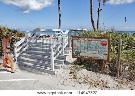 Keating Beach Entrance And Sign