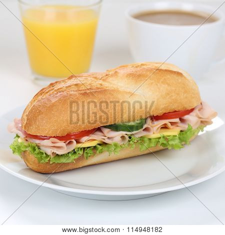 Healthy Eating Sub Sandwich Baguette For Breakfast With Ham And Orange Juice