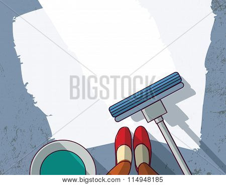 Cleaning objects floor cleaner woman empty place