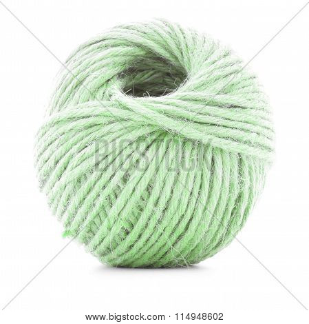 Green Braided Clew, Crochet Thread Roll Isolated On White Background