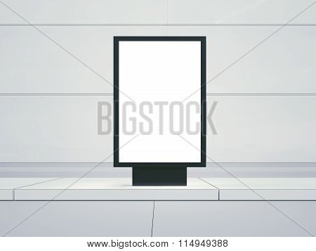 Blank lightbox on the empty street. Glass facades of buildings in  background. Front view. 3d render