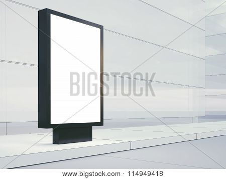Black lightbox on the empty street. Blank facades of buildings in  background. 3d render