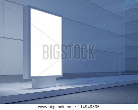 Blank lightbox on the empty street. Modern buildings in background. 3d render
