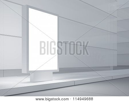 Empty lightbox on the street. Modern buildings in background. 3d render