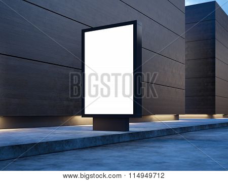 Black empty lightbox on the street. Wooden facades of modern buildings in background. 3d render