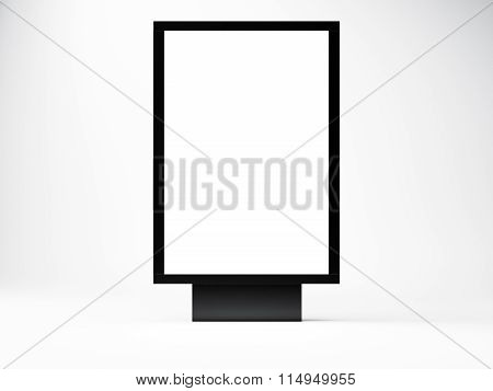 black empty lightbox in the studio. Blank white wall background. Front view. 3d render