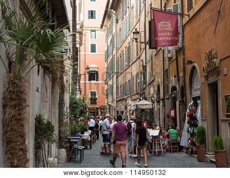 ROME, ITALY - JUNE 15, 2015: Via del Seminario near Pantheon in Rome Italy