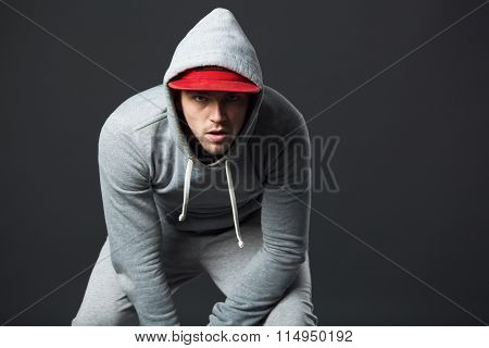 Portrait Of Cool Looking Young Guy In Sportswear.