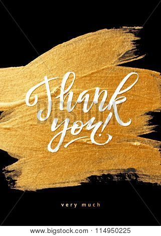 Shine Gold Foil Thank You Card. Calligraphy