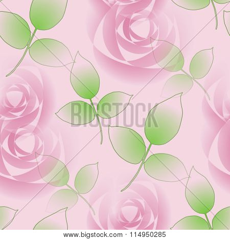 Seamless pattern pink roses and green leaves
