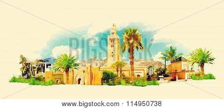 Vector Watercolor Marrakesh City Illustration