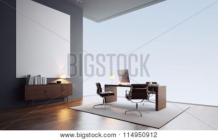 Concept of contemporary office interior with blank white canvas. 3d render