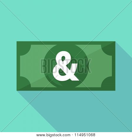 Long Shadow Banknote Icon With An Ampersand