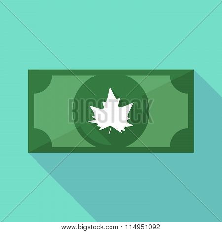 Long Shadow Banknote Icon With An Autumn Leaf Tree