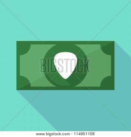 Long Shadow Banknote Icon With A Plectrum
