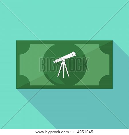Long Shadow Banknote Icon With A Telescope