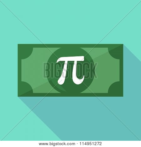 Long Shadow Banknote Icon With The Number Pi Symbol
