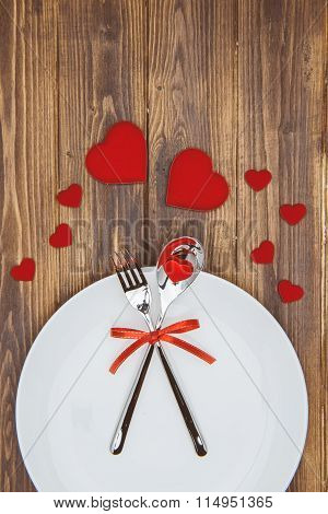 Celebrate Valentine's Day, Heart Shape And Dishware On A Plate